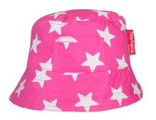 Toby Tiger Girl`s canvas sunhat in pink star