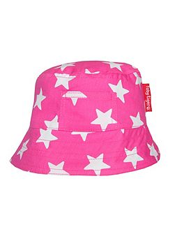 Girl`s canvas sunhat in pink star