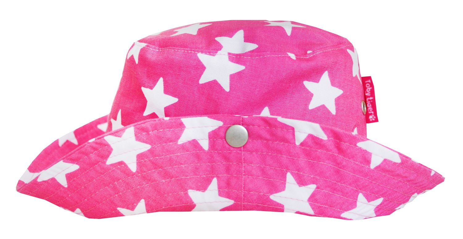 Girl`s canvas toddler sunhat in pink star