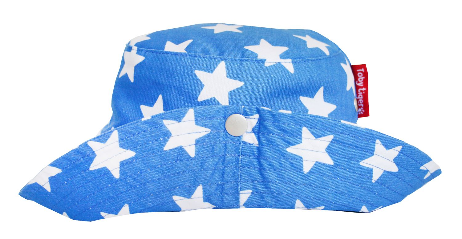 Boy`s canvas toddler sunhat in blue star