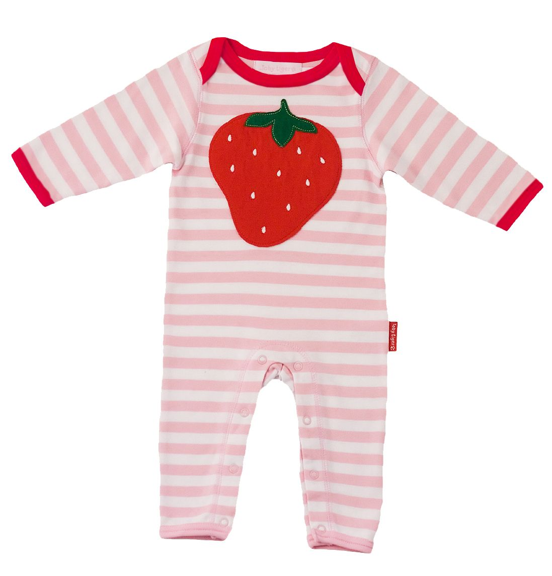 Toby Tiger Baby organic cotton sleepsuit, Pink