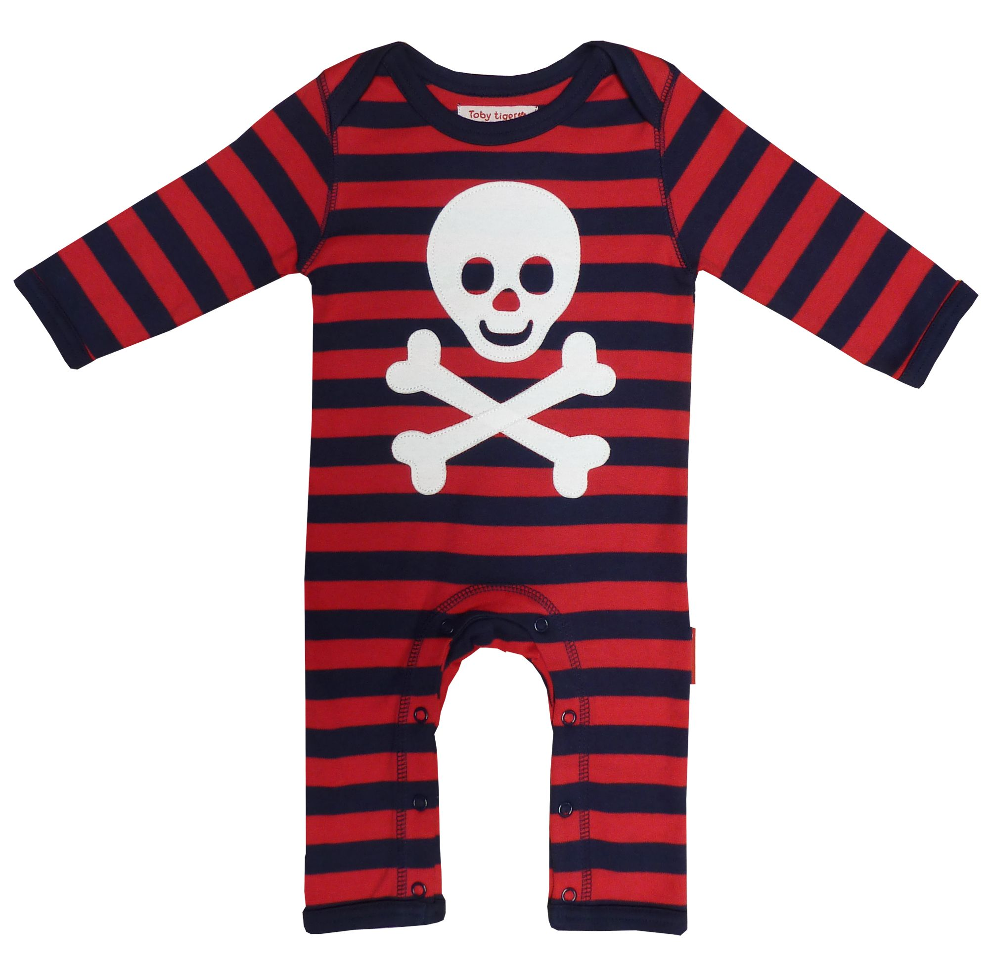Toby Tiger Baby organic cotton pirate sleepsuit, Red