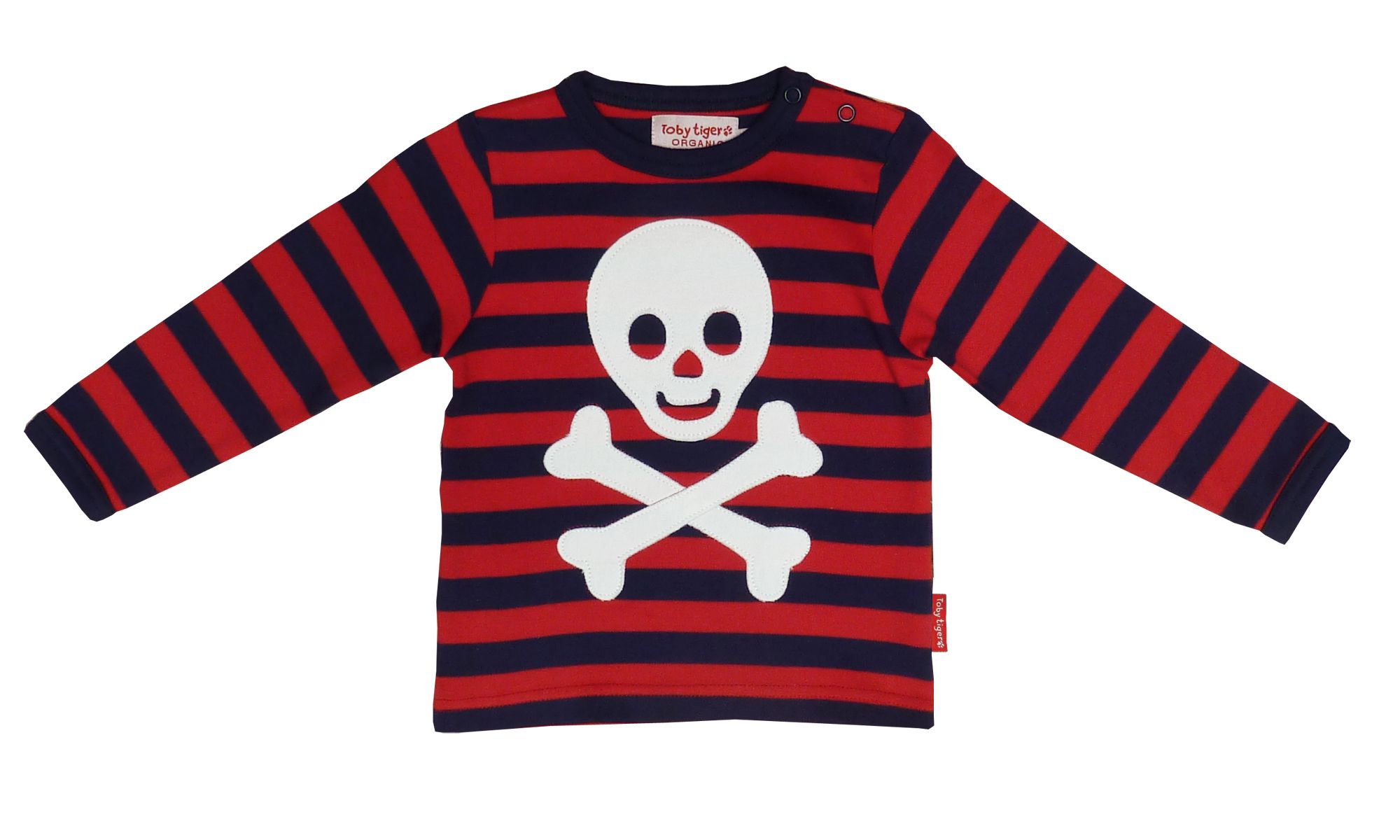 Toby Tiger Boys organic cotton pirate t-shirt, Red