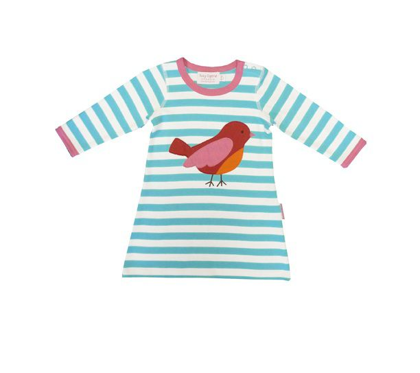 Girl`s organic cotton bird t-shirt dress
