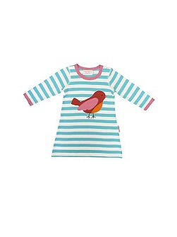 Toby Tiger Girl`s organic cotton bird t-shirt dress