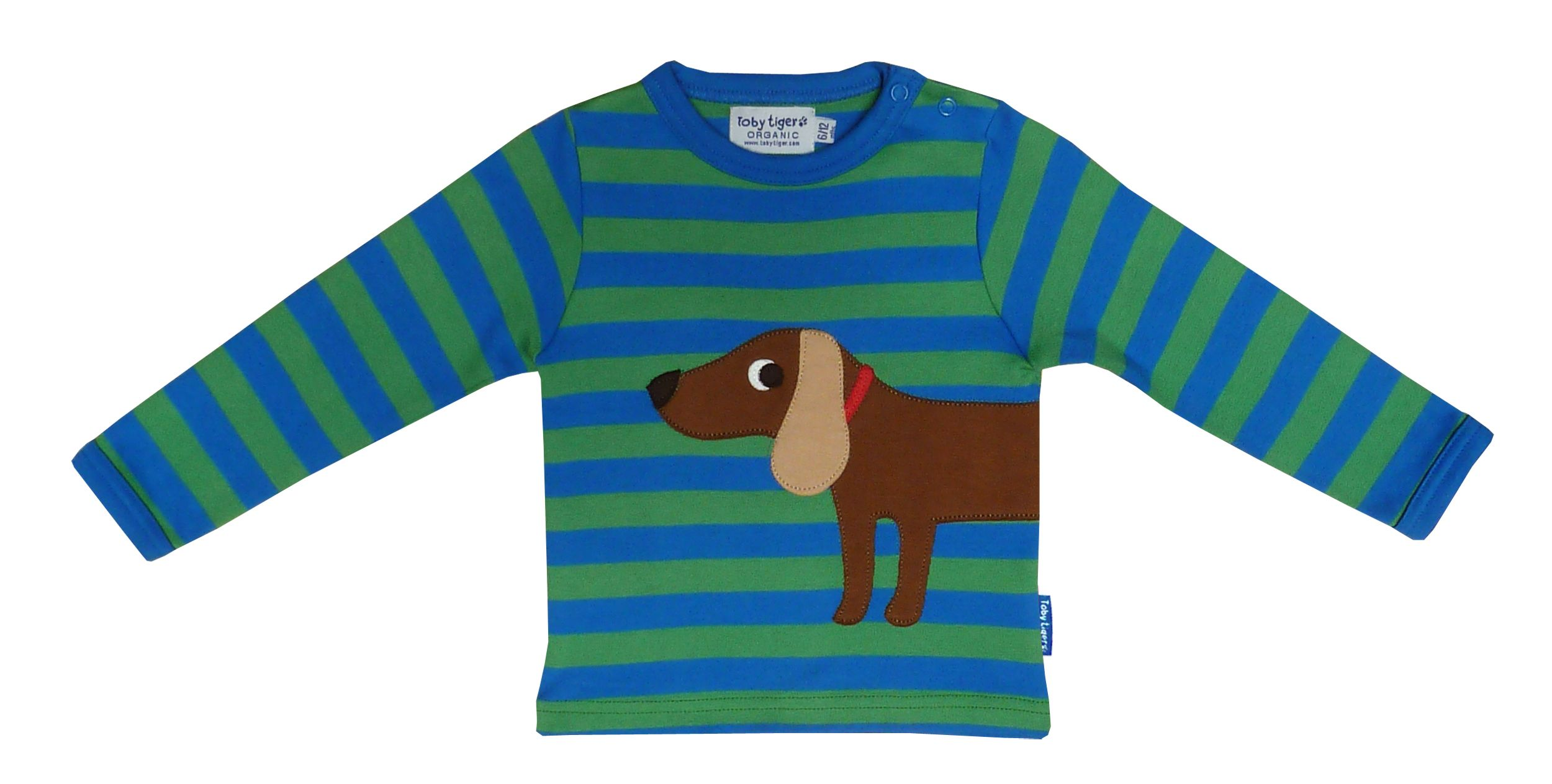 Toby Tiger Boys organic cotton dog t-shirt, Green