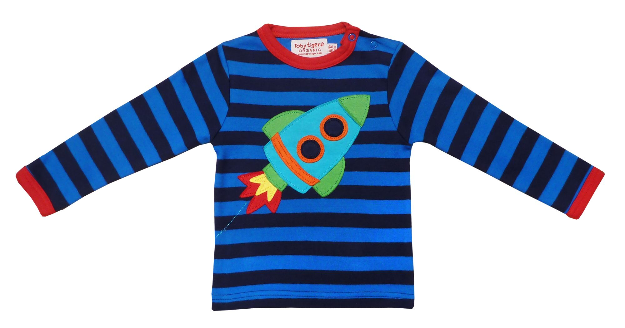 Toby Tiger Boys organic cotton rocket t-shirt, Blue