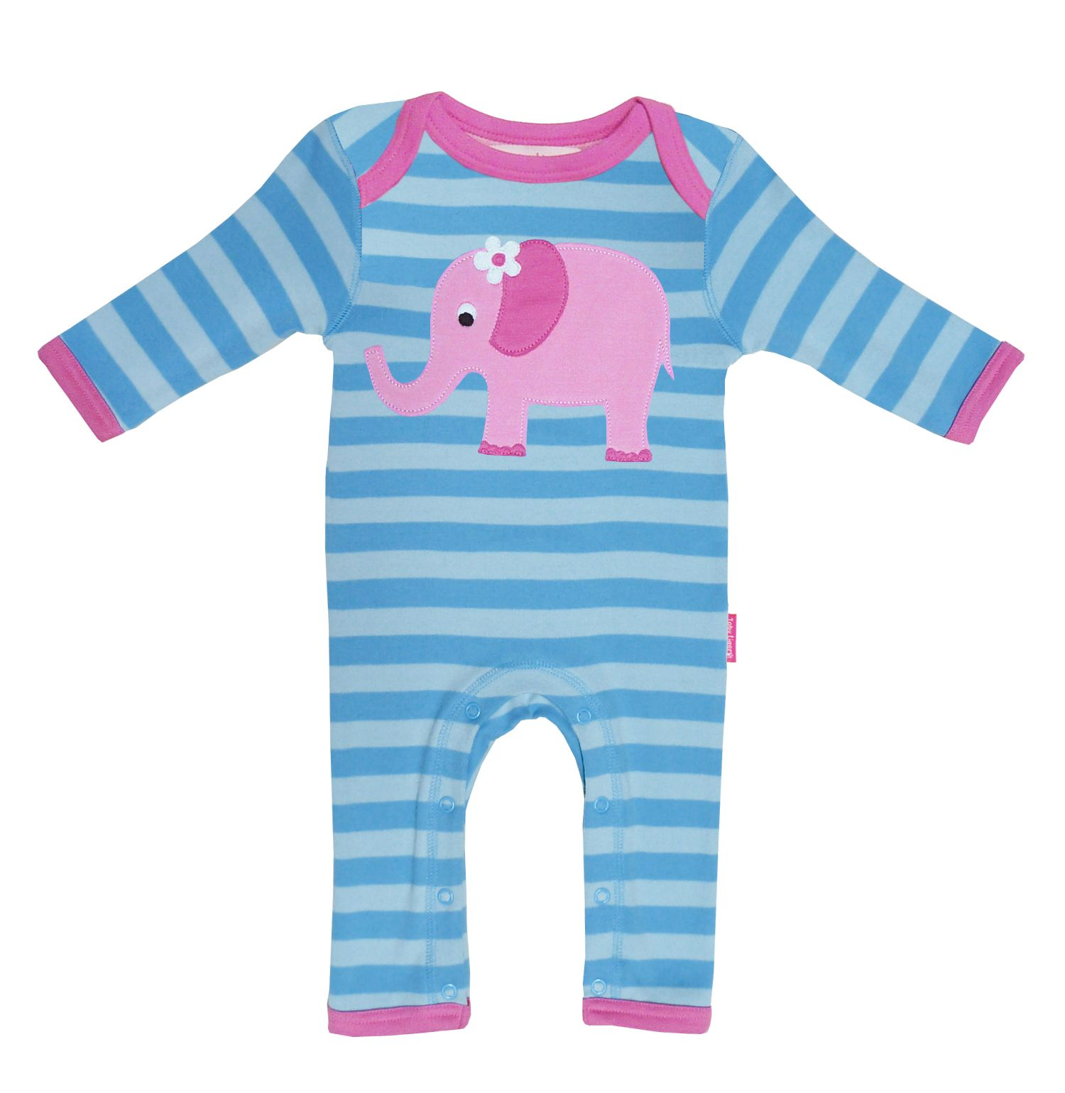 Toby Tiger Baby organic cotton elly sleepsuit, Blue