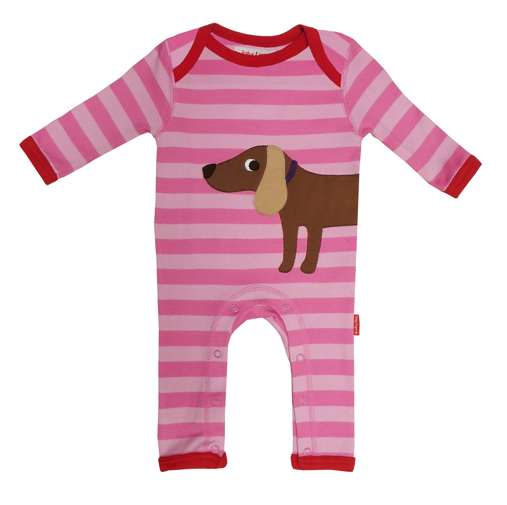 Toby Tiger Baby organic cotton dog sleepsuit, Pink