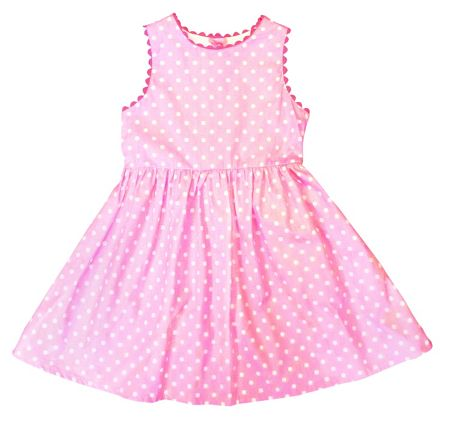 Toby Tiger Girl`s party dress in pink with white dots