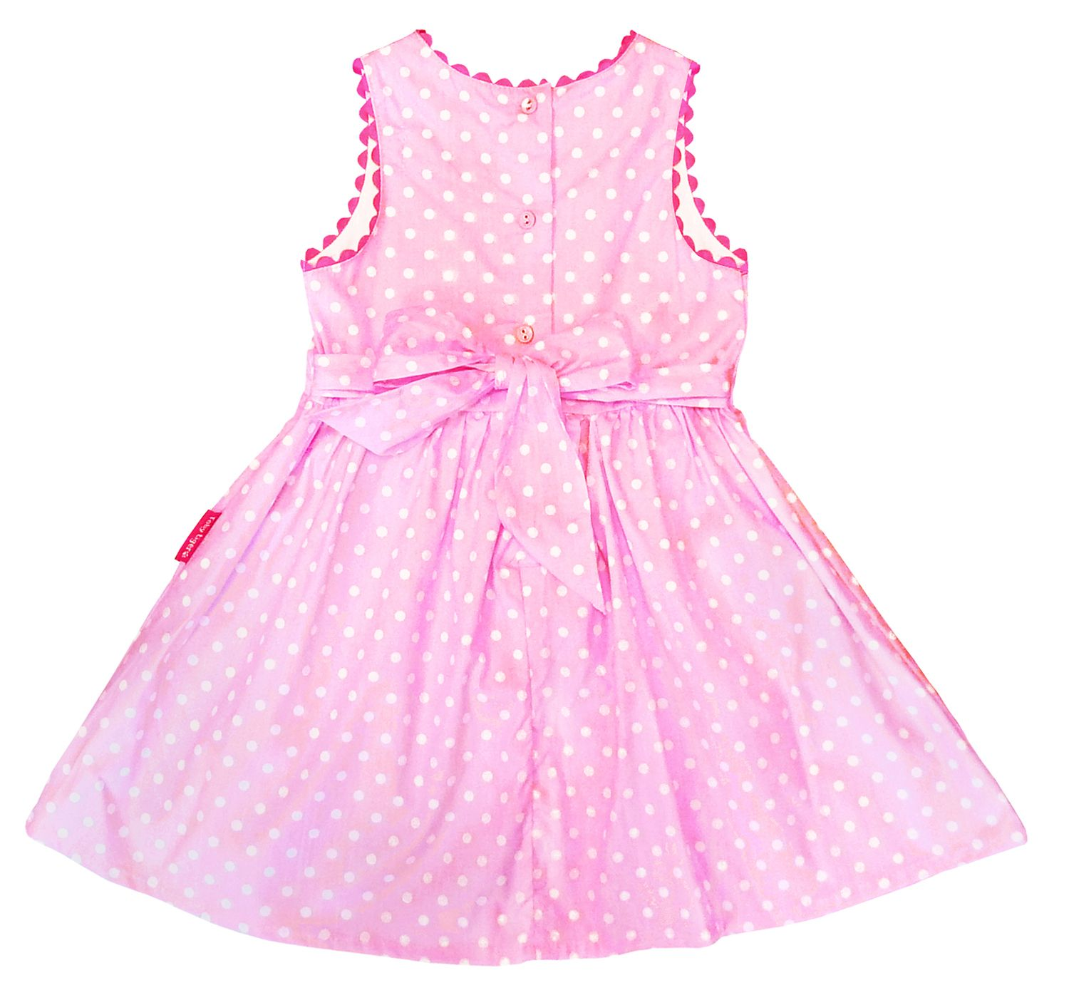 Girl`s party dress in pink with white dots