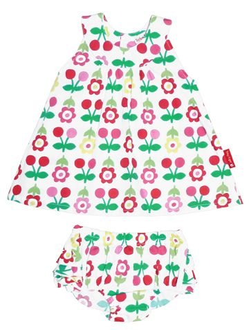Toby Tiger Toby Tiger Girl`s dress & pant set in cherry flower, Pink