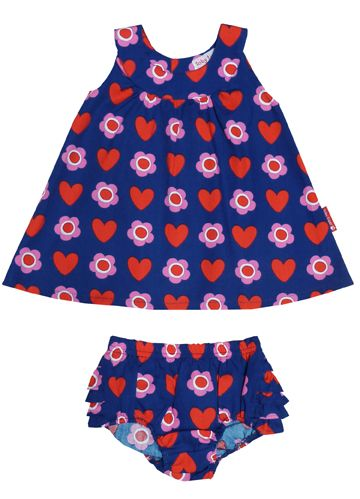 Girl`s dress & pant set in heart flower