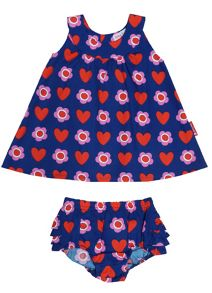 Toby Tiger Girl`s dress & pant set in heart flower