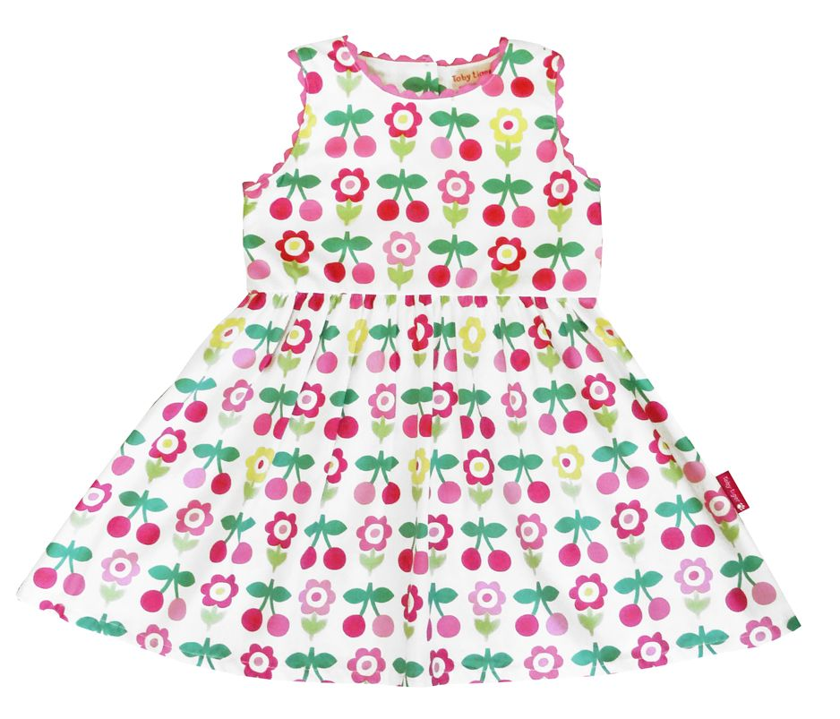 Toby Tiger Toby Tiger Girl`s party dress in cherry flower, Pink