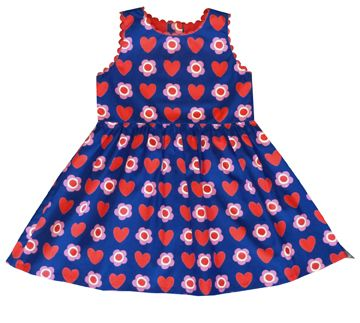 Toby Tiger Toby Tiger Girl`s party dress in heart flower, Blue