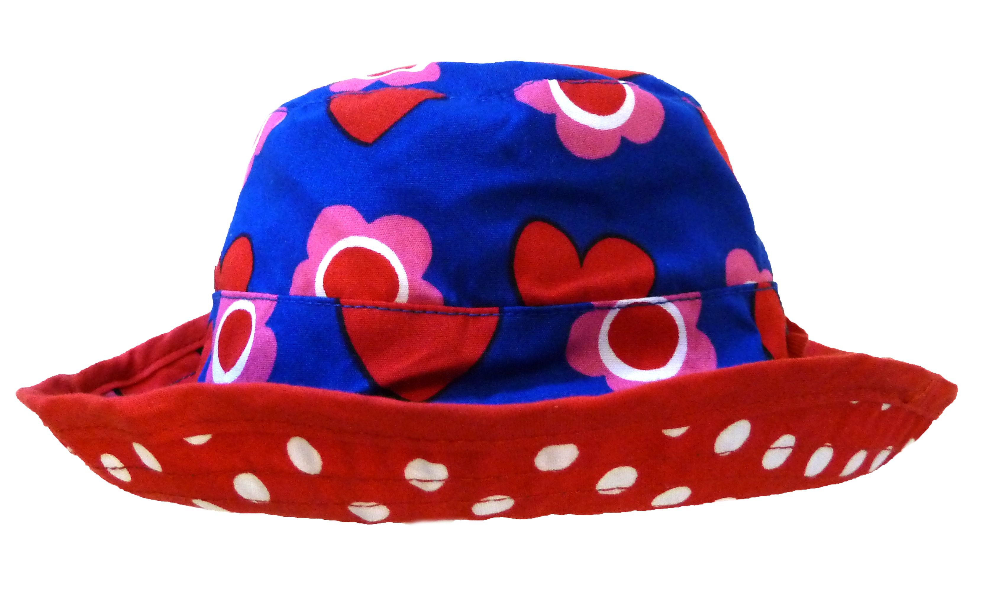 Girl`s reversible sunhat in heart flower