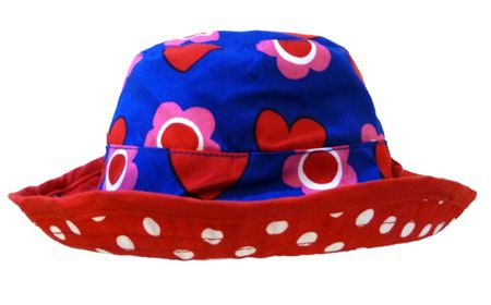 Toby Tiger Girl`s reversible sunhat in heart flower