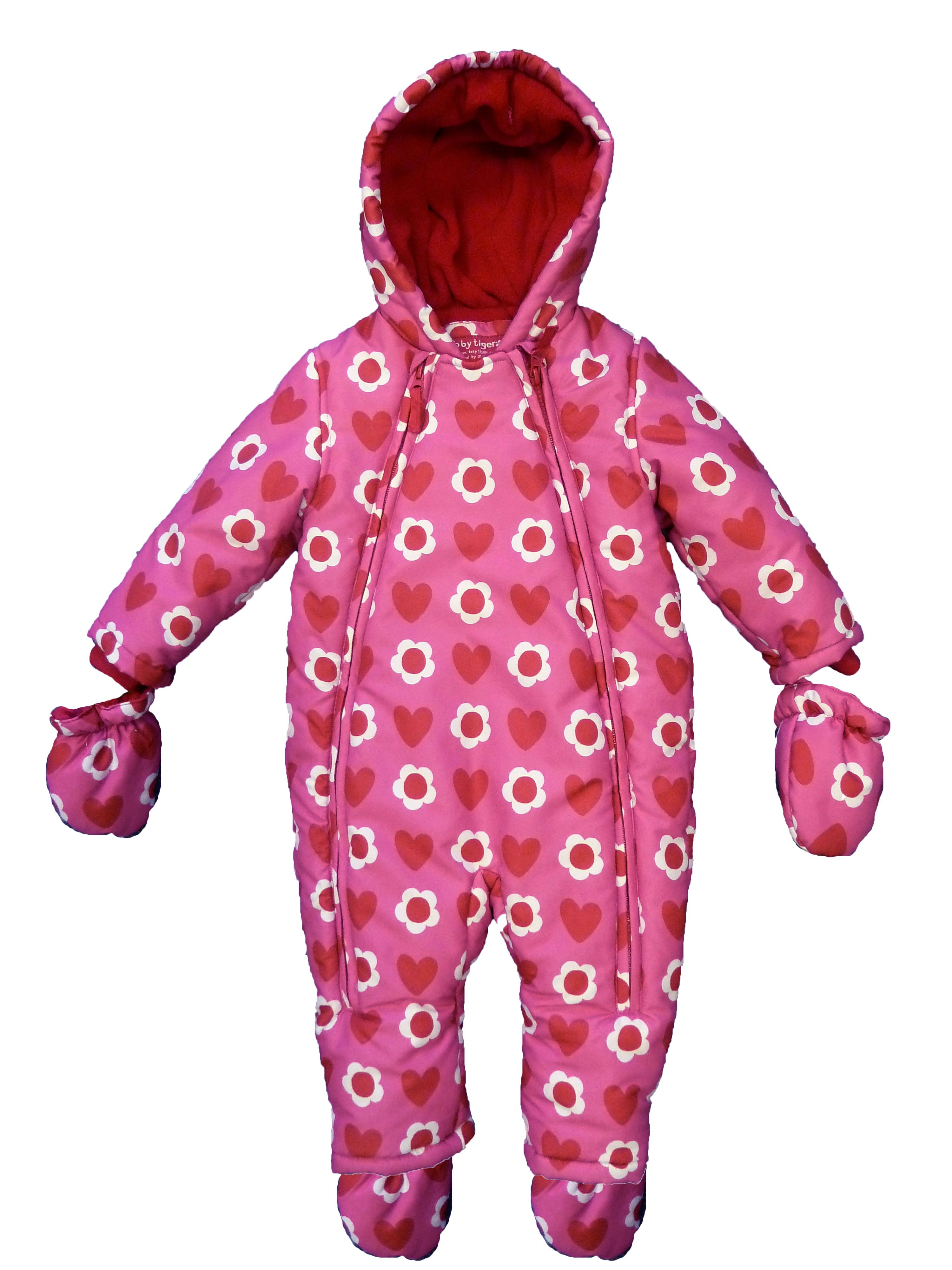 Girl`s pink heart snowsuit