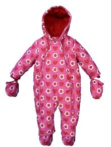 Toby Tiger Girl`s pink heart snowsuit