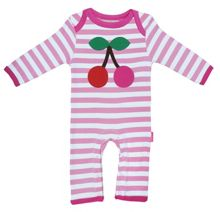 Toby Tiger Girl`s Organic applique cherry sleepsuit