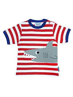 Toby Tiger Boy`s Organic short sleeve applique shark