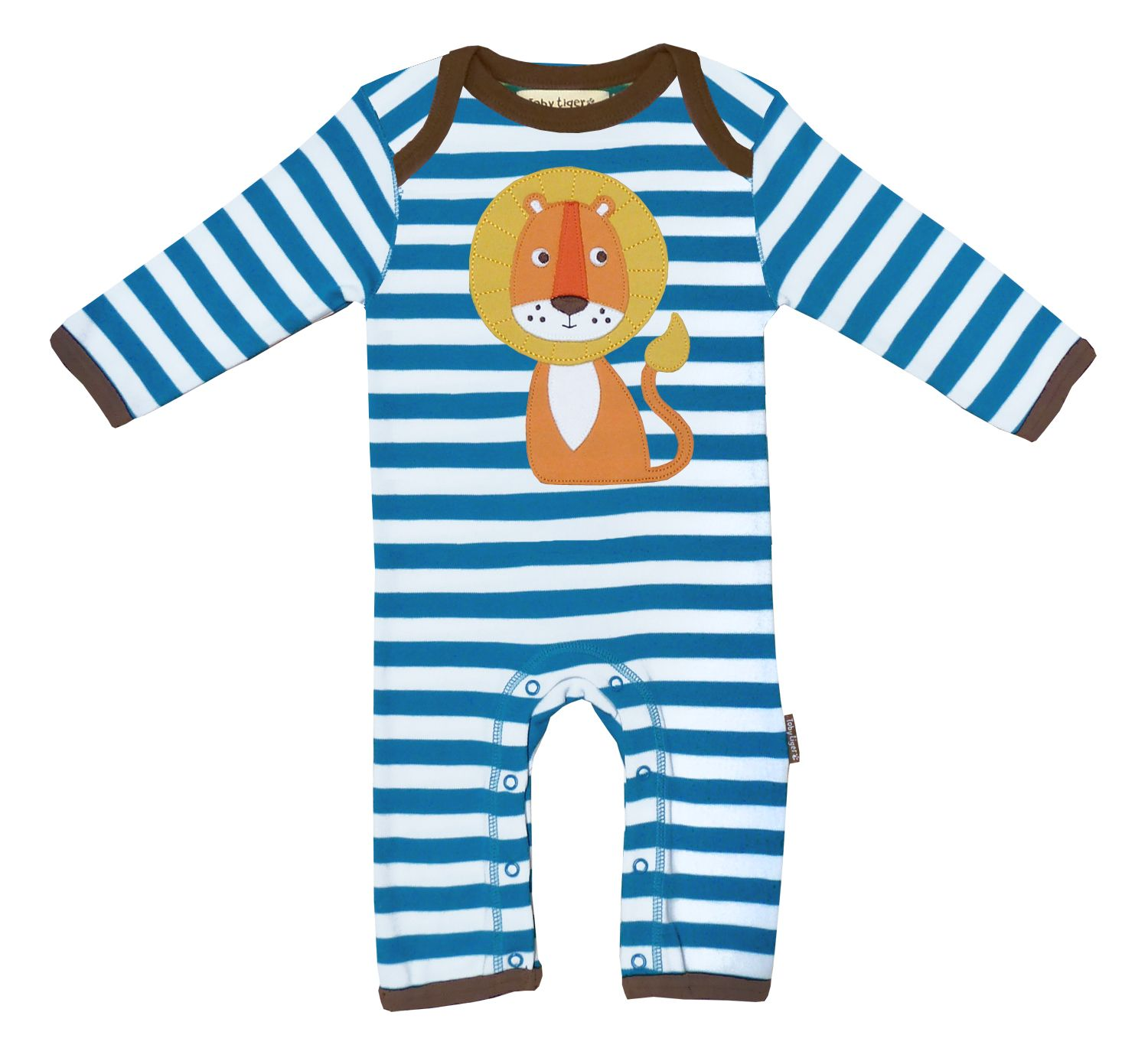Boy`s Organic applique lion sleepsuit