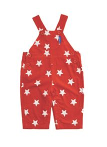 Toby Tiger Kid`s cord red white stars dungarees