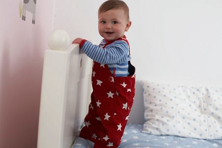 Kid`s cord red white stars dungarees