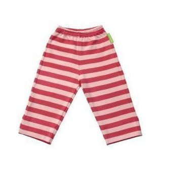 Girl`s organic jersey trousers in pink stripe
