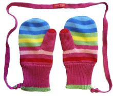 Toby Tiger Girl`s knitted bold mittens