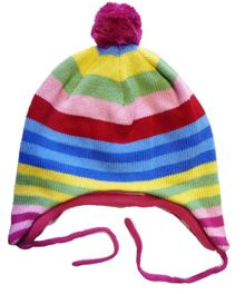 Toby Tiger Girl`s knitted bold stripe hat