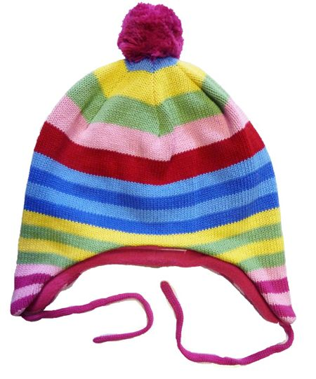Girl`s knitted bold stripe hat