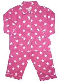 Toby Tiger Girl`s cosy brushed cotton pink star PJs