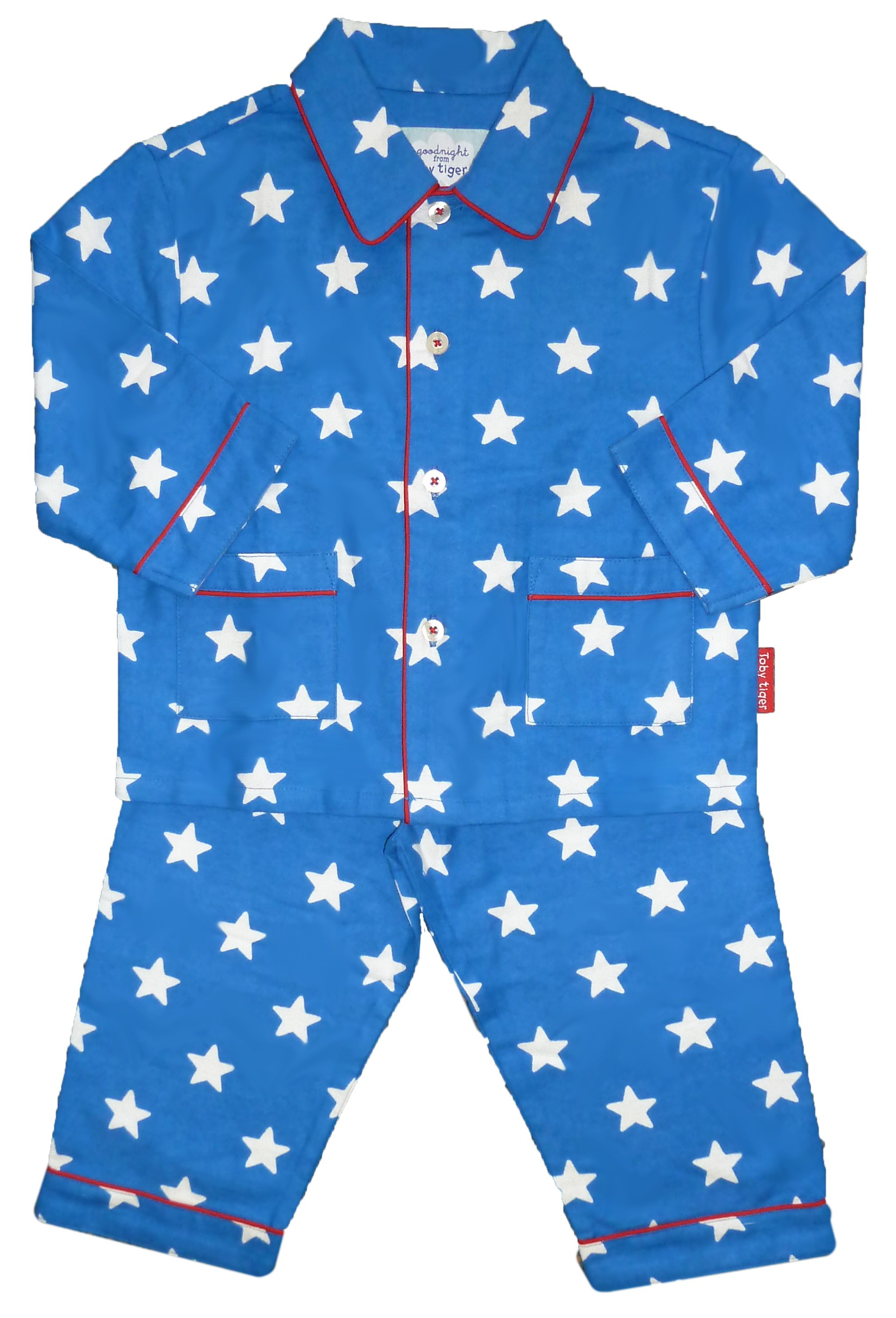 Boy`s cosy blue start brushed cotton PJs