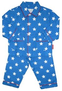 Toby Tiger Boy`s cosy blue start brushed cotton PJs
