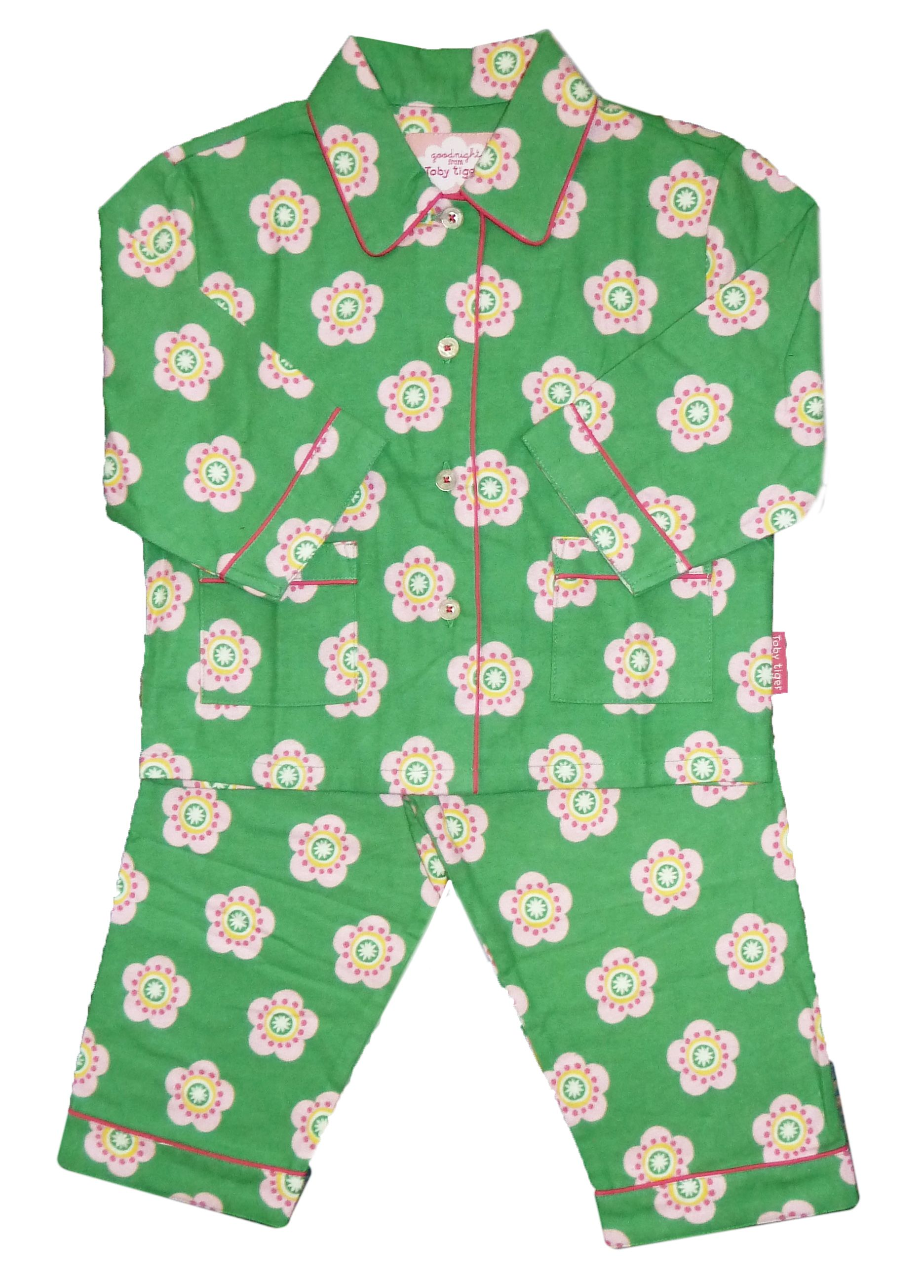 Girl`s cosy brushed cotton green PJs