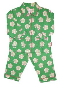Toby Tiger Girl`s cosy brushed cotton green PJs