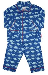 Toby Tiger Boy`s cosy dinosaur brushed cotton PJs