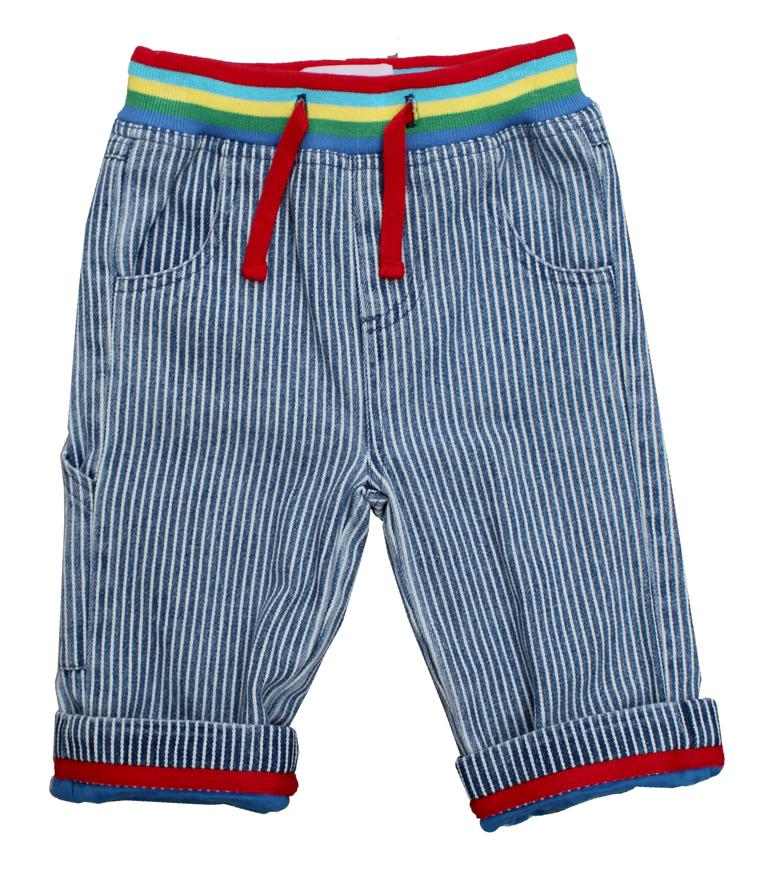 Kid`s blue stripe denim jeans with drawstring