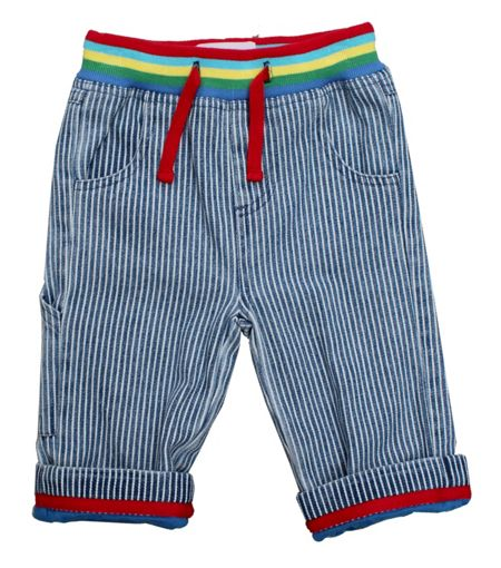 Toby Tiger Kid`s blue stripe denim jeans with drawstring