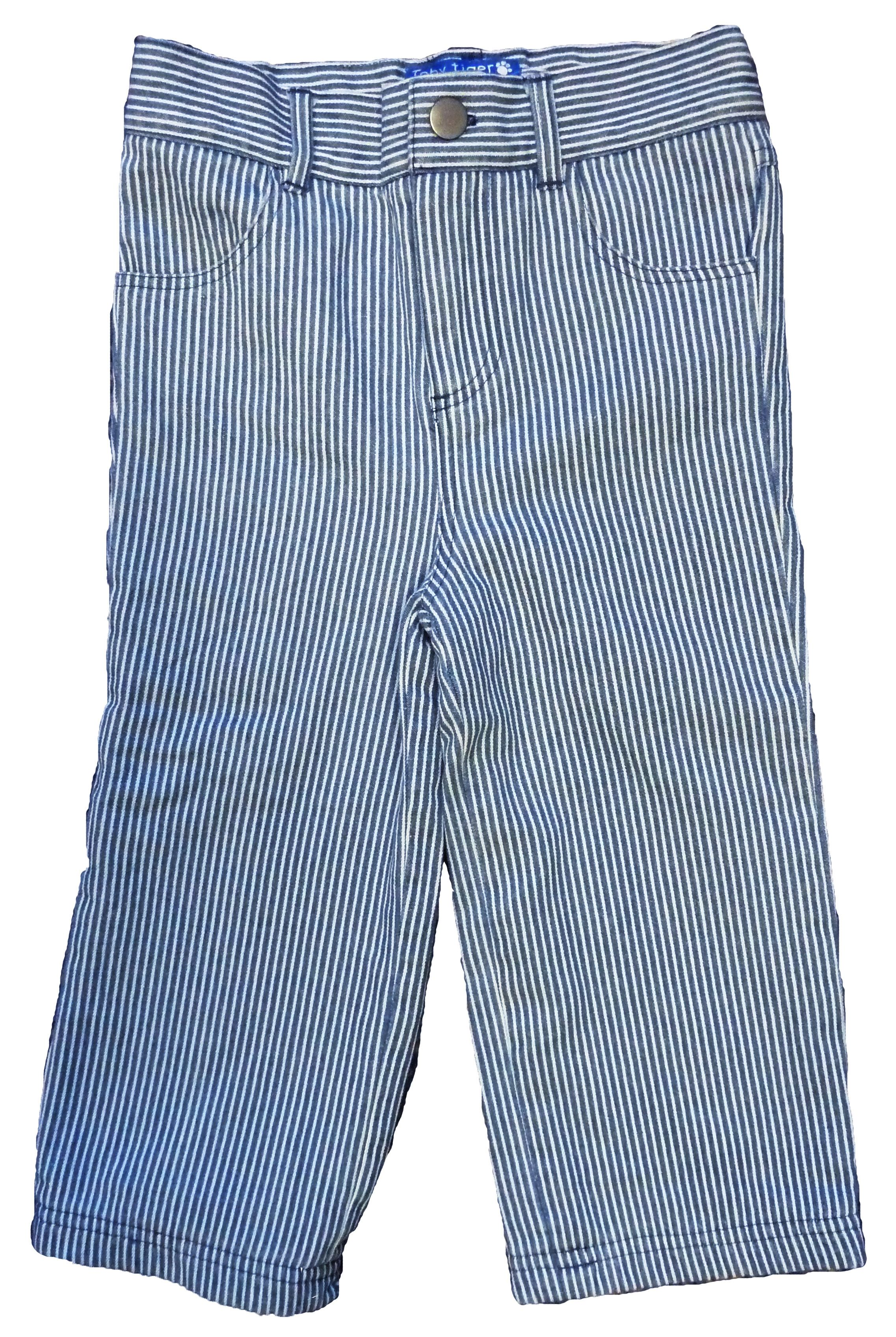 Kid`s blue stripe denim jeans with poppers