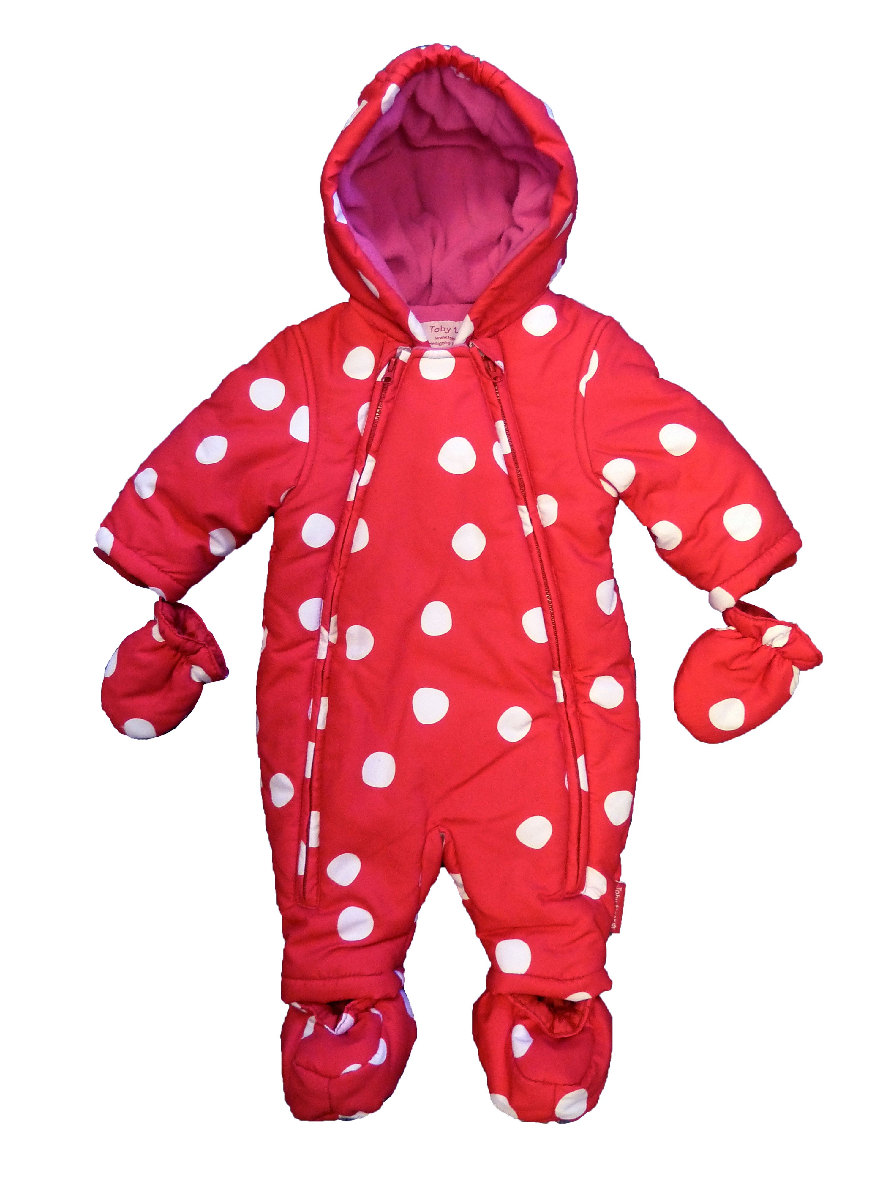 Kid`s red spot snowsuit