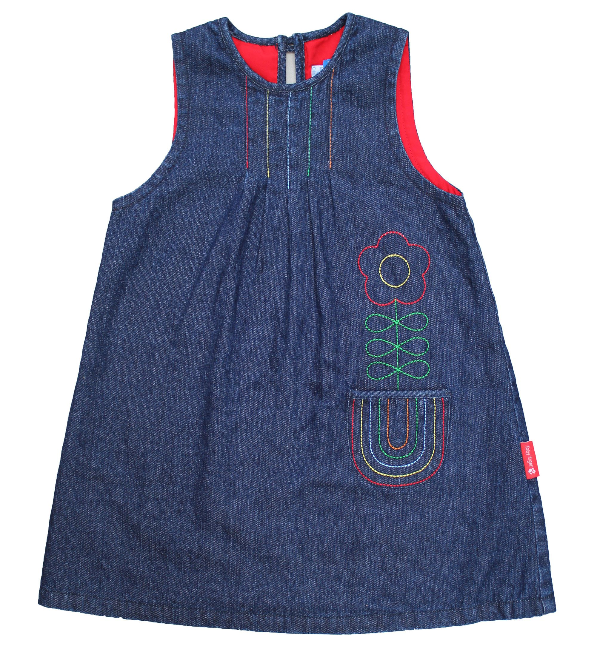 Girl`s rainbow denim pinafore dress