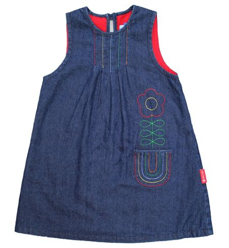 Toby Tiger Girl`s rainbow denim pinafore dress