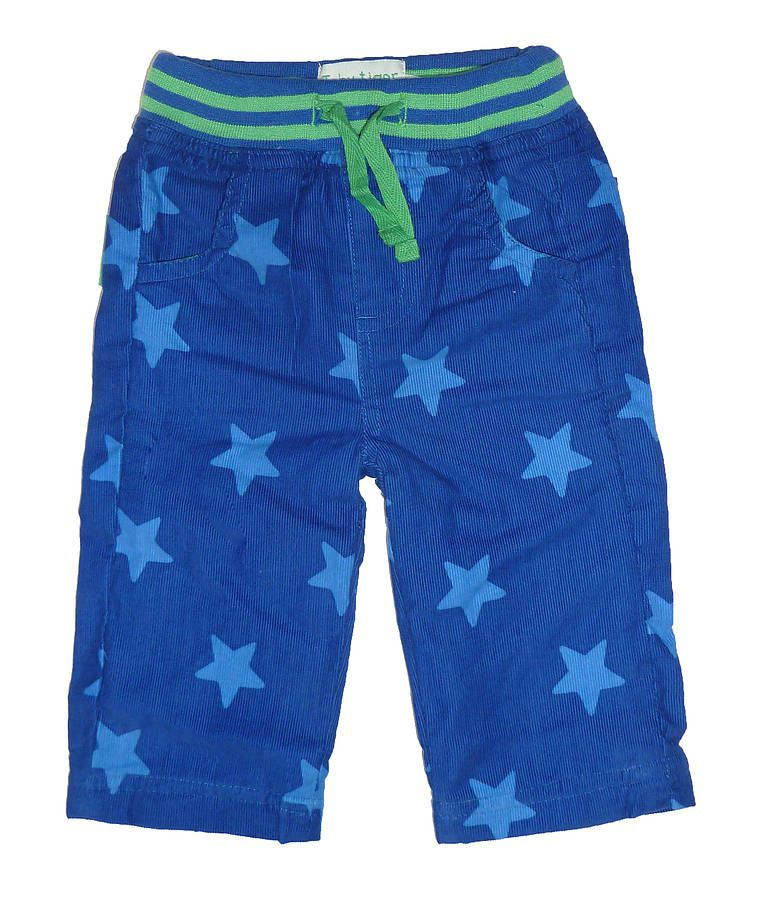 Boy`s cord blue star drawsting trousers