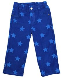 Boy`s cord blue star poppers trousers