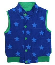Boy`s reversible cord blue star gilet