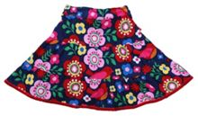 Girl`s cord skirt bird flower