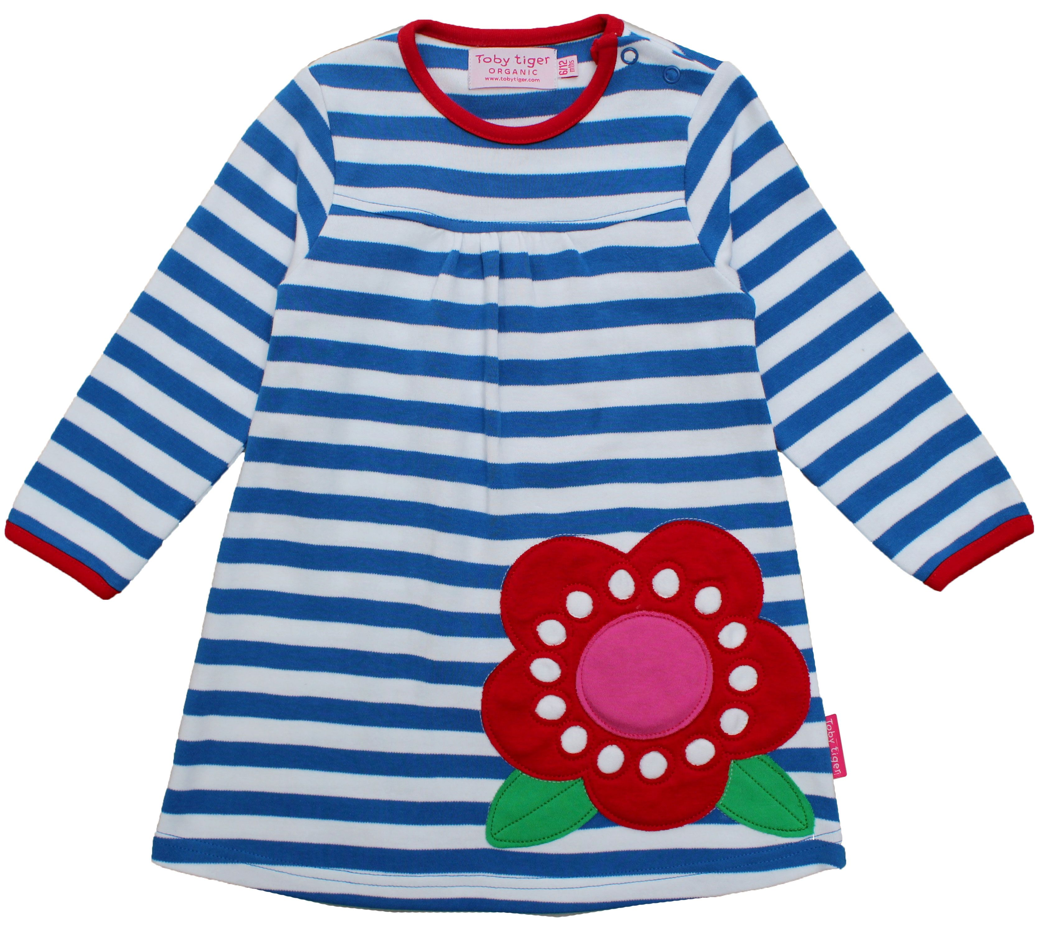 Girl`s organic cotton flower t-shirt dress